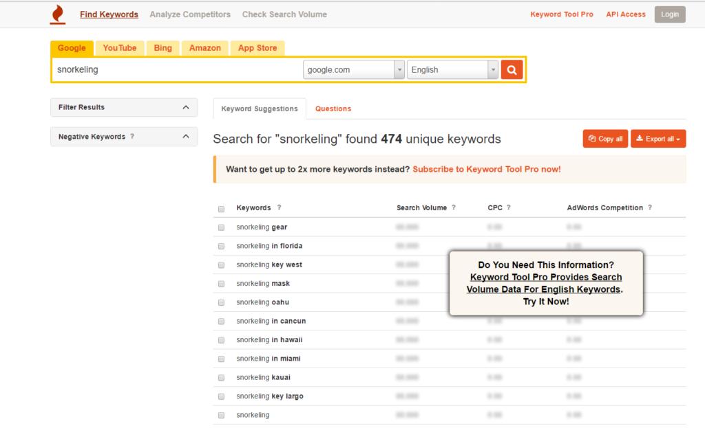 Analiza SEO keyword tool